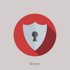 Vector flat secure icon on sample background