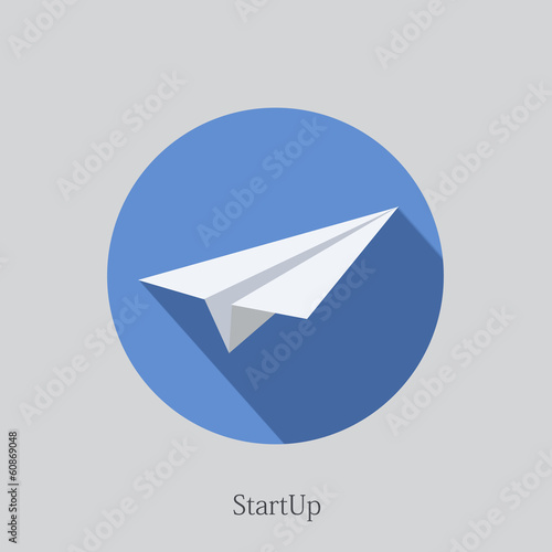 Vector flat startup icon on sample background