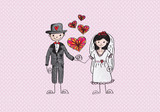Cartoon wedding hand drawn wedding couple