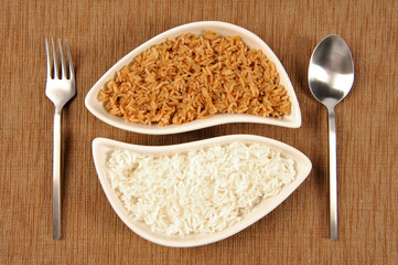 Bowl of brown and white rice