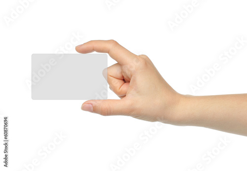 Hand holds virtual card on white background .