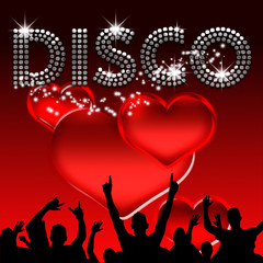 Disco poster valentine's day red hearts