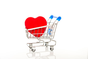 Shopping cart with red heart