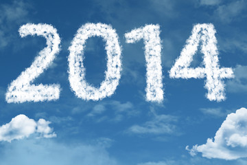 2014 on clouds. It celebrates the coming of the new year