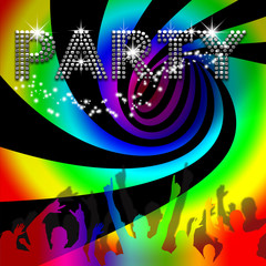 Party poster with rainbow spinning vortex