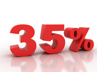 3d rendering of a 35 percent discount in red letters on a white
