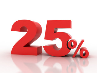 3d rendering of twenty five percent discount in red letters on a