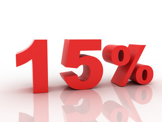 3d rendering of a 15 percent discount in red letters on a white