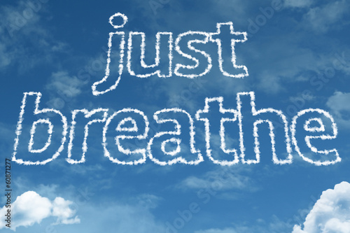 Just Breathe text on clouds