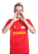 Screaming spanish sports fan with blond hair