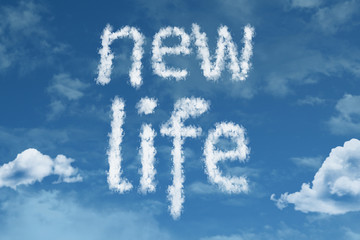 New Life text on clouds