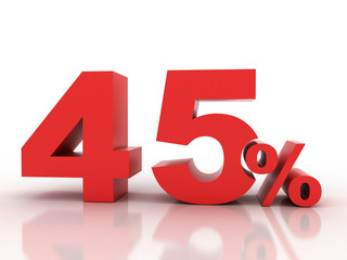 3d rendering of forty five percent discount in red letters on a