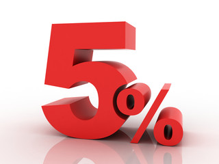3d rendering of a 5 percent discount in red letters on a white b
