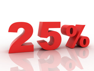 3d rendering of a 25 percent discount in red letters on a white