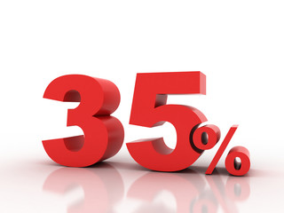 3d rendering of thirty five  percent discount in red letters on