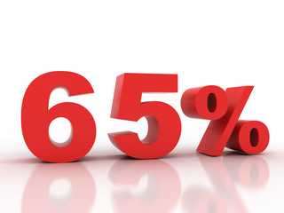 3d rendering of a 65 percent discount in red letters on a white