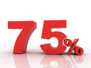 3d rendering of Seventy five  percent discount in red letters on