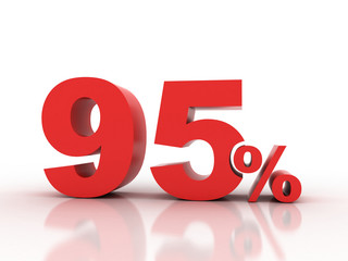 3d rendering of ninety five  percent discount in red letters on