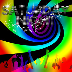 Saturday Night poster with rainbow spinning vortex