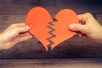 Broken paper heart