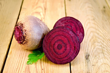 Beets with parsley on the board