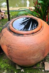 Rainwater storage jars in spa
