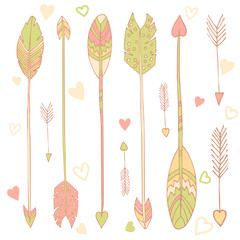 Hand drawn vector feathers set, pastel colors