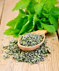 Herbal tea of mint leaves dry on a spoon