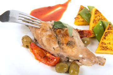 lapin aux olives et polenta