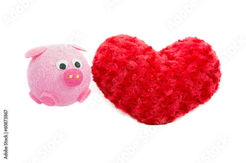 Valentine Heart Made Out of Pillow Roses and Pink Pig