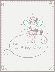 card with fairy and cat