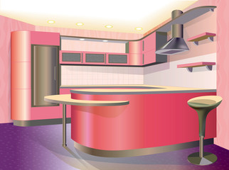 pink kitchen interior (vector illustration)