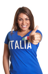 Italian girl showing thumb up