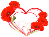 Love, heart of red poppies