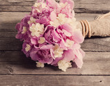 wedding bouquet on wooden background