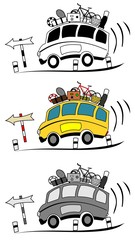 Coach buses cartoon