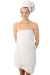 Frau mit Dusch-Handtuch und Kopfturban