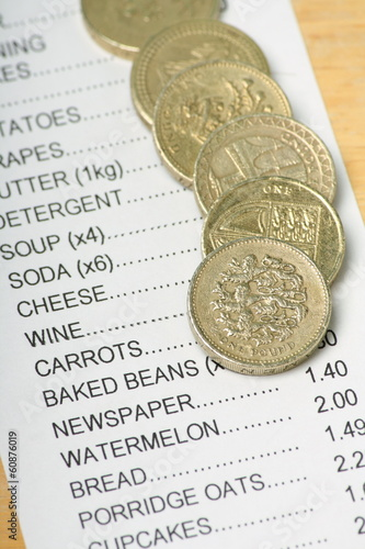 British Pound Coins on a Receipt for Food Shopping