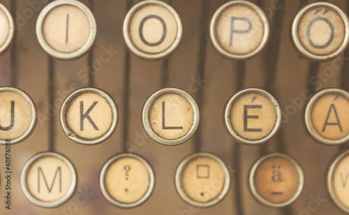 Close up photo of antique typewriter keys
