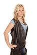 Woman leather vest hands hips side