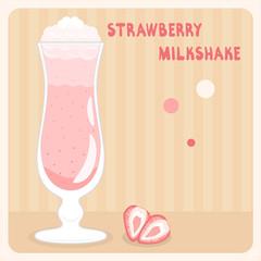 Strawberry milkshake with cream in vector