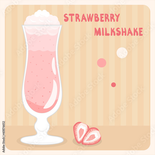 Strawberry milkshake with cream in vector