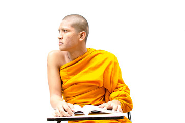 Buddhist monk reading a religious text.