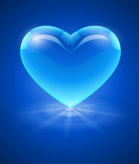 Blue glass heart. Eps10 vector illustration