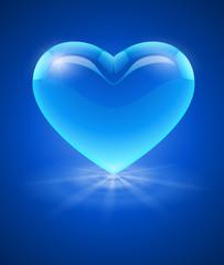 Blue glass heart. Eps10 vector illustration