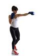 sport girl doing with exercise with boxing gloves, fitness woman