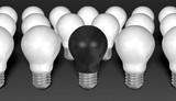 One black light bulb among many white ones on grey background poster