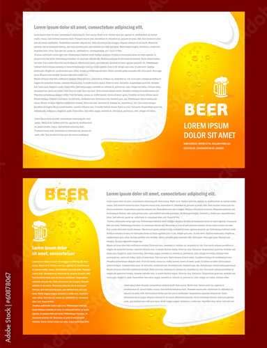 brochure folder card beer bar element design / cmyk, no transpar