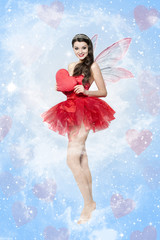 Beautiful young woman as love fairy