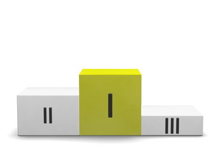 Podium with yellow first cube for and Roman numerals. Front view